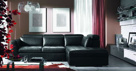 black leather sofa in living room living room decorations of modern home style with ikea