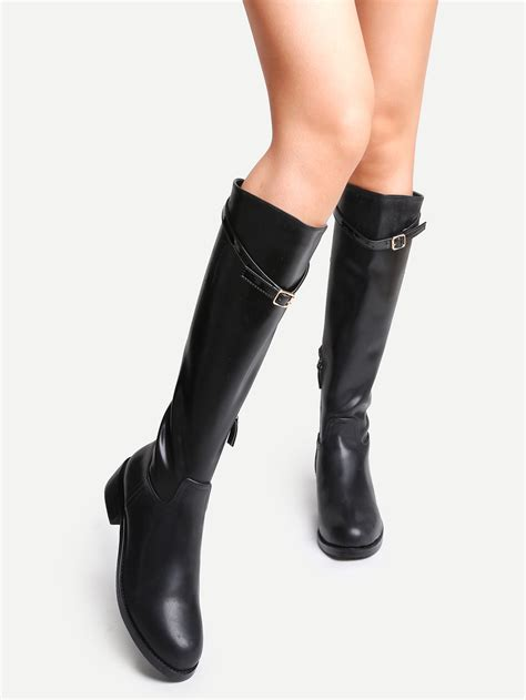 black faux leather buckle knee high zipper boots