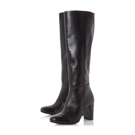 dune siena block heel leather knee high boots in brown lyst