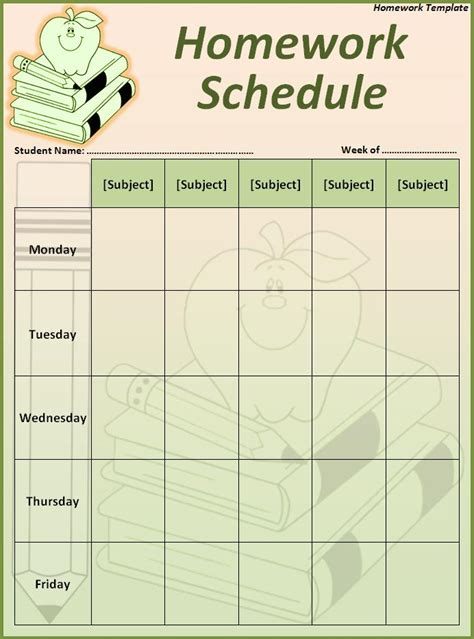 homework sheet template homework calendar printable calendar template 2016