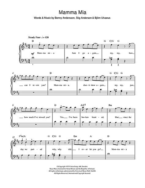 Mamma Mia sheet music by ABBA (Beginner Piano – 47048)