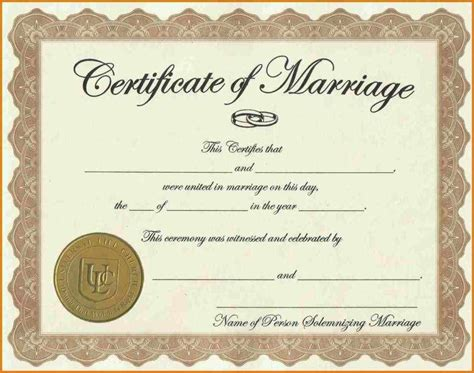 certificate word template certificate templates sle marriage certificates