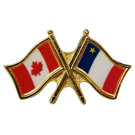 canada acadia crossed pin crossed flag pin friendship pin