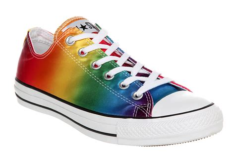 rainbow shoes converse all ox low rainbow satin trainers ebay