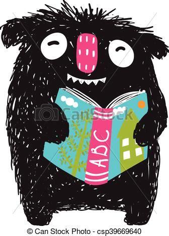 monster reading abc book cartoon  kids happy funny