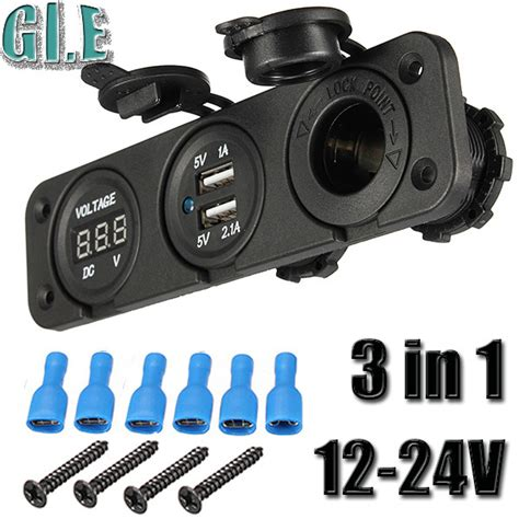 Soket Mobil Expansion 3 12v 24v Socket Blue Led Light On Usb Port aliexpress buy car 12v 24v dual usb charger adapter