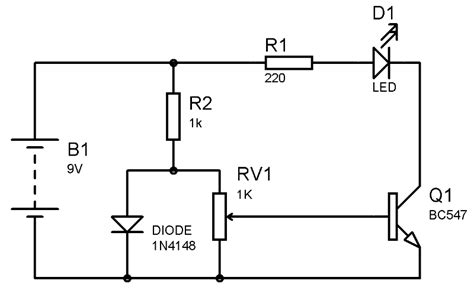 diode as thermal sensor simple heat sensor or temperature sensor circuit diagram