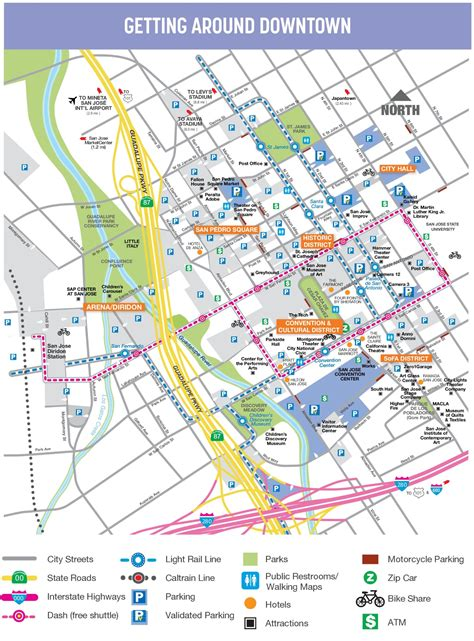san jose city map san jose downtown map