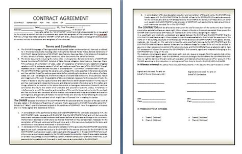 contract terms and conditions template qualified contract agreement template exle in two page