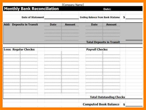 8 bank reconciliation excel format packaging clerks