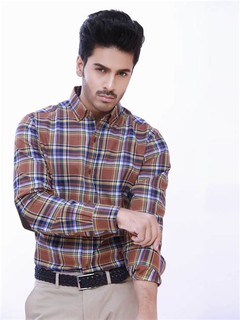 Patch Check Shirt By Famo mustard large check shirt with patch brumano