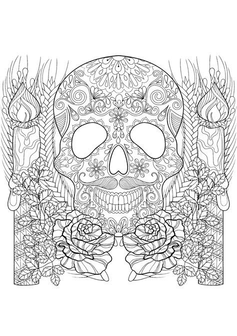 Skull and candles - Halloween Adult Coloring Pages