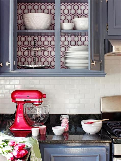 wallpaper kitchen cabinets wallpaper on back of cabinets eclectic kitchen diy network