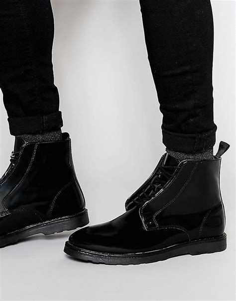asos boots in black leather with wedge sole in black for