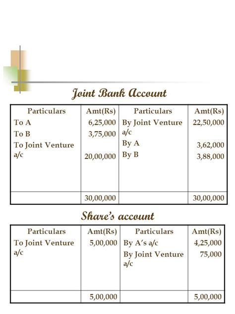 joint venture bank accounting for joint ventures ppt