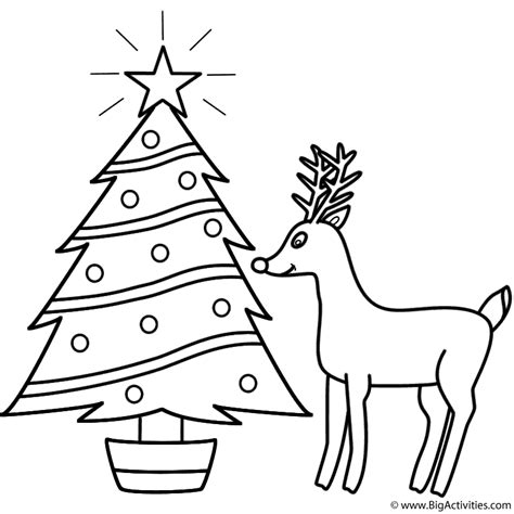 Christmas Tree With Rudolph Coloring Page Christmas Merry Tree Coloring Page