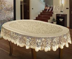 oval tablecloth heavy lace cream golden beige large premium quality ebay