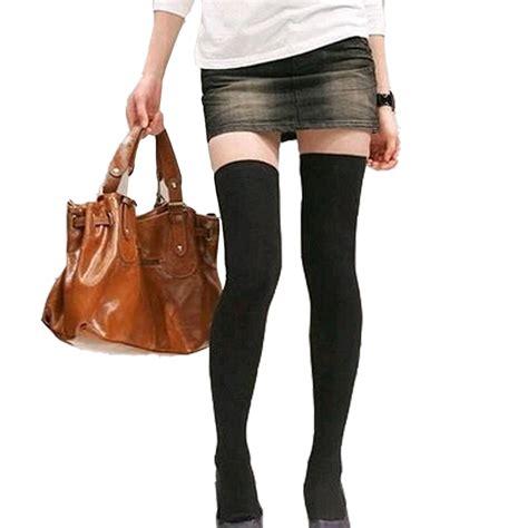 Stoking Paha Wanita 2015 gaya musim panas fashion wanita lutut panjang warna hitam elastis manis