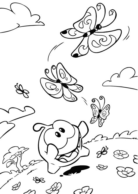 om nom coloring pages to and print for free