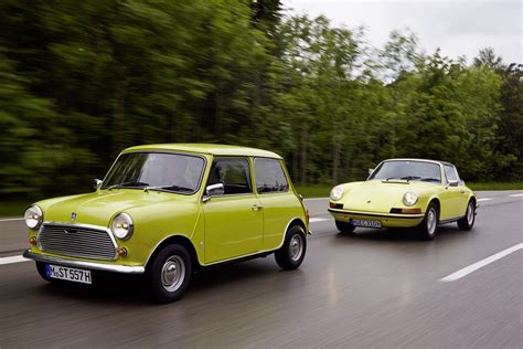 mini cooper porsche classic mini says happy 50th birthday to porsche 911
