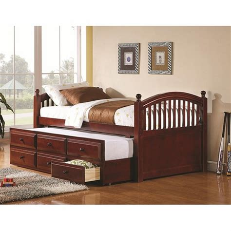twin size day bed coaster 400381t brown twin size wood day bed steal a