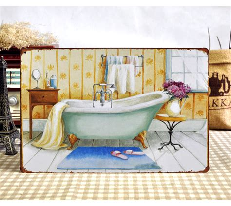 metal tin signs bathroom poster quot bathtub quot retro painting vintage wall home bar cafe iron