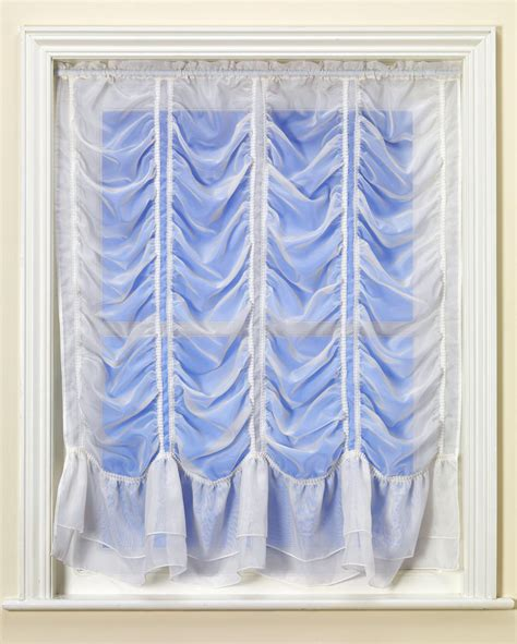 festoon curtains worcester white voile festoon double frill flounce from