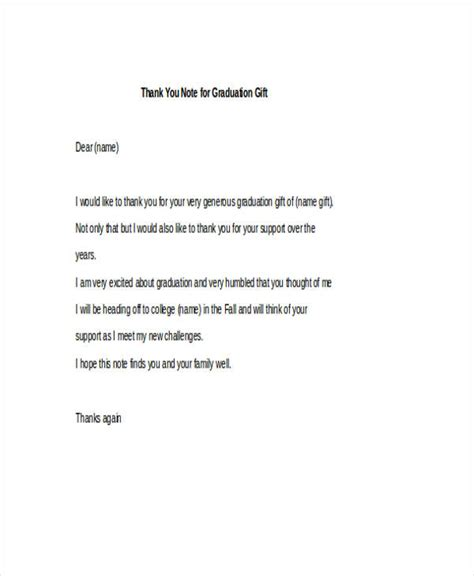 thank you letter to after graduation 42 thank you note exles sles