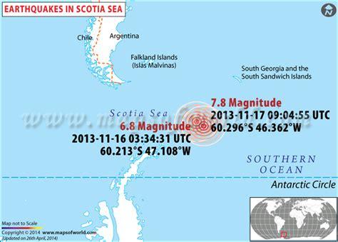 earthquakes  scotia sea areas affected  earthquakes