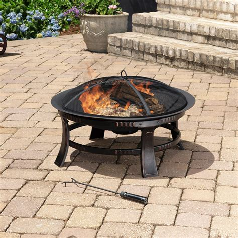 outdoor fire pits amazon com pleasant hearth brant round fire pit 30 inch