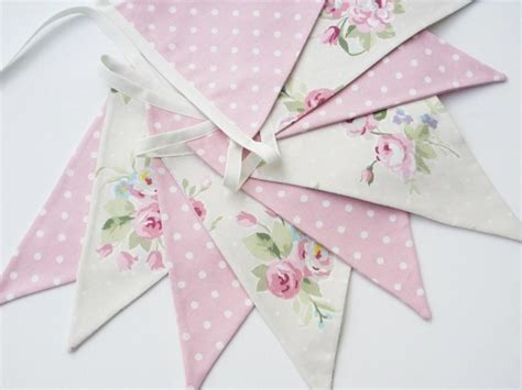 shabby chic bunting pink and light beige floral and dots fabric bunting pennant banner