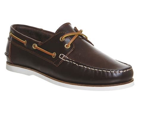 mens ask the missus deck boat shoe brown leather casual