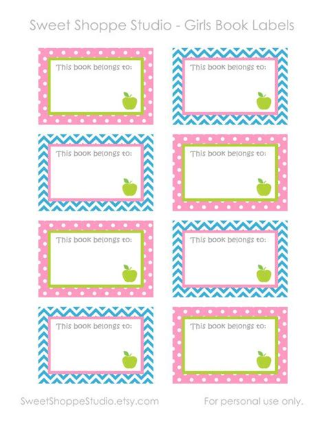 Instant Printable Labels For School Diy Printable Girls Book Labels This Book Belongs To School Book Labels Template