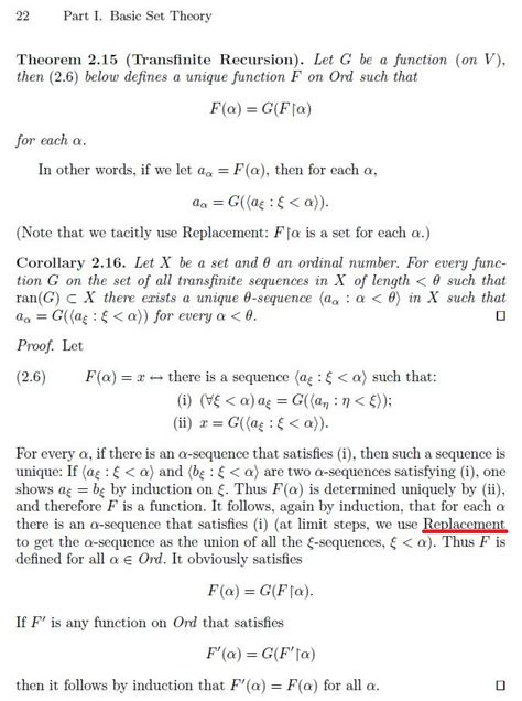 elementary set theory when is elementary set theory of replacement axiom
