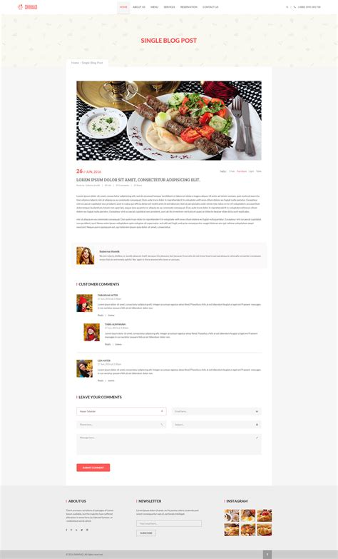 single post page template shhaad one page restaurant psd template by ui expert