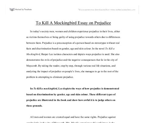 To Kill A Mockingbird Essay Introduction by To Kill A Mockingbird Essay On Prejudice Gcse Marked By Teachers