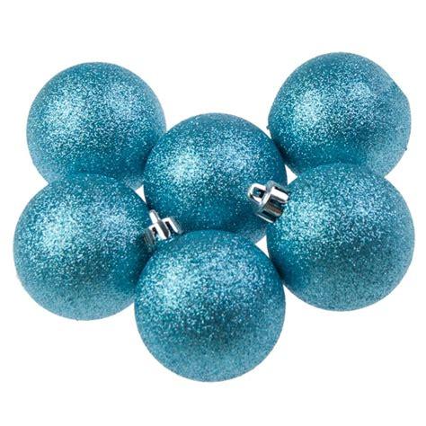 blue glitter shatterproof baubles 6 x 60mm baubletimeuk