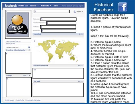 facebook template for google docs students can create a facebook page for a historical figure