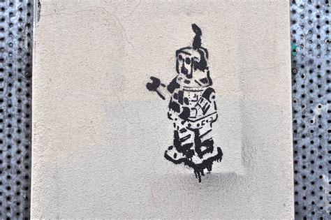 stencil  robot  wall stencil street art  bedminster