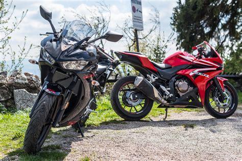 Motorrad Honda A2 by A2 Vergleichstest Honda Cbr500r Vs Yamaha Yzf R3