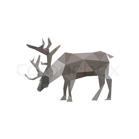 origami deer illustration of abstract origami reindeer isolated on