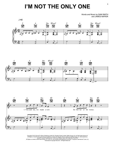 tutorial guitar i m not the only one i m not the only one piano sheet music by sam smith