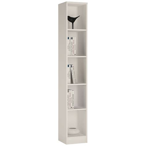 Tall Slim Bookcase 4 You Tall Narrow Bookcase In Pearl White