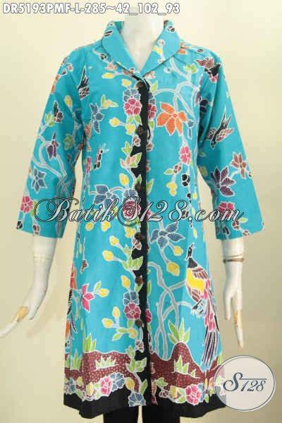 Dress Batik Tulis Biru baju batik dress kombinasi tulis warna biru muda motif