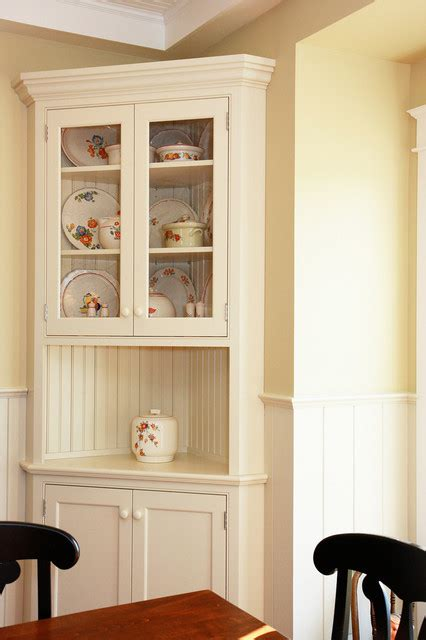 Corner Hutch Dining Room Traditional White Corner Hutch