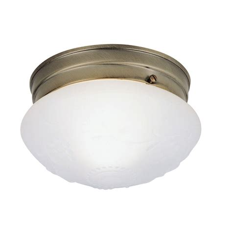 Flush Glass Ceiling Light Westinghouse 1 Light Ceiling Fixture Antique Brass Interior Flush Mount With Satin White Glass