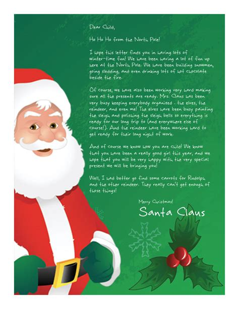 Late Gift Letter From Santa free printable letter from santa claus template easy