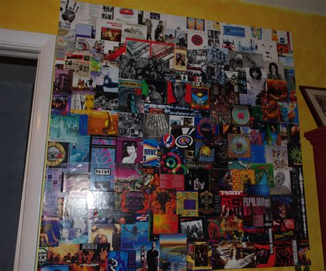 wall collage repurpose cd album cover in wall collage