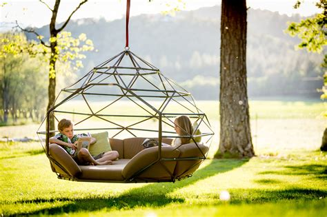 outdoor hanging bed kodama zomes hanging geodesic seats beds design milk