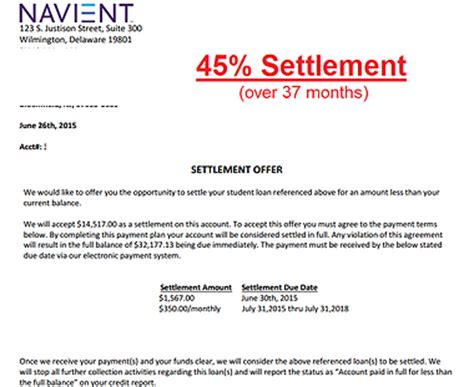 Finance Settlement Letter Student Loans Mycreditcounselor Netmycreditcounselor Net